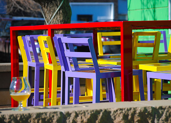 {colorful patio chairs}