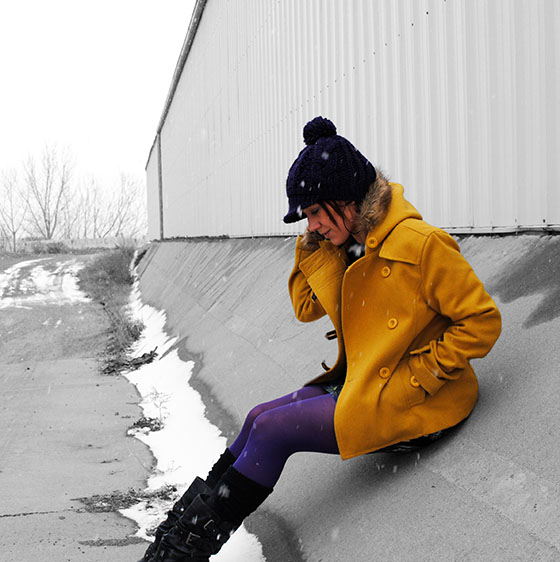 {Thread & Supply coat, F21 dress, White Mountain boots, thrifted beanie, Only Mine cashmere sweater, Hue tights}