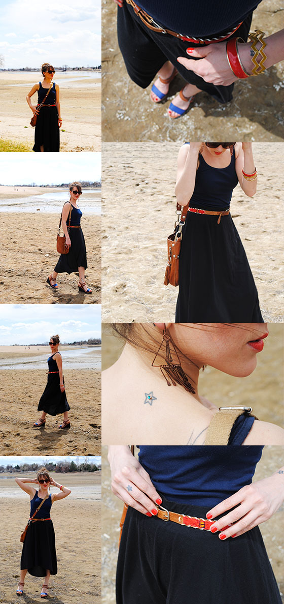 {gifted skirt...no brand, F21 tank, thrifted earrings, bangles, and belt, B Makowsky bag, Target glasses and shoes}