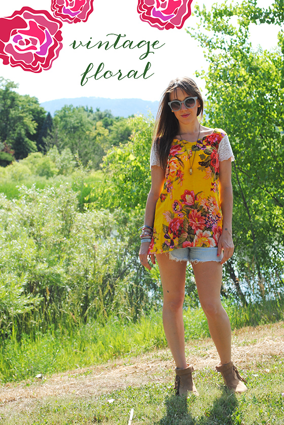 {vintage floral tunic, Jbrand cut-offs, Free People Sunglasses, necklace from outdoor arts fair, boots from Ciara}